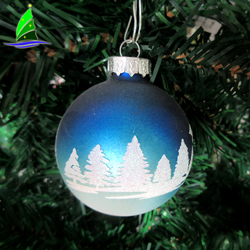 Stock hanging Home Decorações Glass Blue Christmas Ball