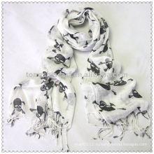 Дамы белый с черный череп печать вискоза шарф