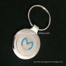 Benutzerdefinierte glänzendes Nickel Schlüsselanhänger mit eingelassenen Logo für Souvenir