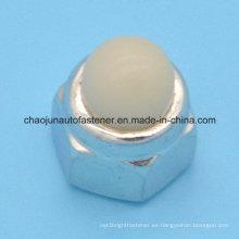 Tuerca de casquillo de nylon hexagonal de acero de carbono (CZ090)