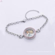 Fancy pink crystal pendant bracelet, silver floating locket twist bracelet jewelry
