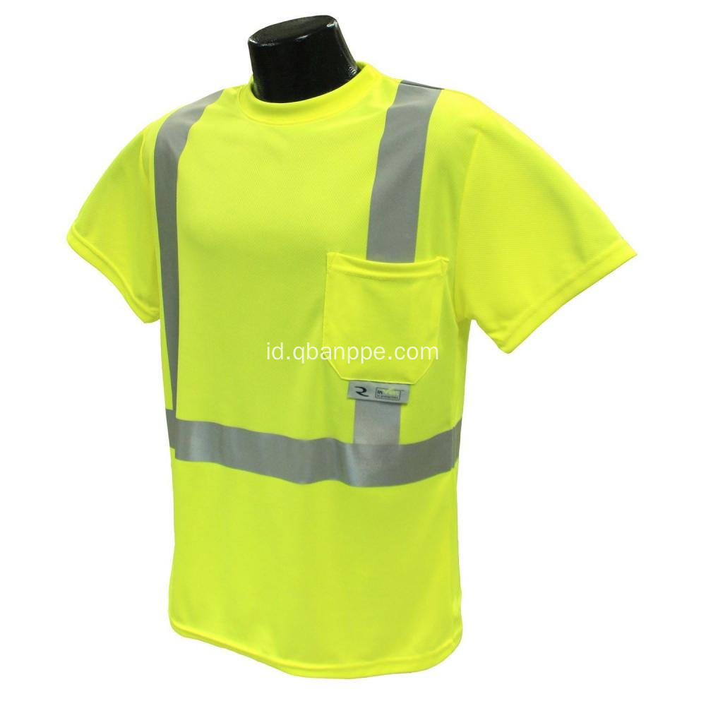 Visibilitas tinggi Safety reflective T-shirt dengan pocket