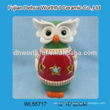 Ornamento cerâmico personalizado da coruja com luz conduzida / tealight