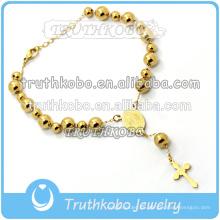 Pulsera rosaria hecha a mano en acero inoxidable chapado en oro cruz colgante católico artículos religiosos el espíritu santo