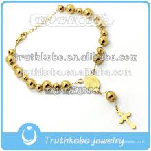 rosary bracelet handmade in stainless steel gold plated cross charm pendant catholic religious items the holy spirit