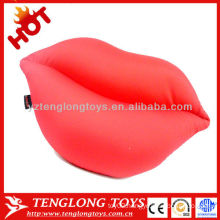 2015 new design popular sexy decorative red lip shape soft microbead pillow
