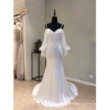 С Длинным Рукавом Атласная Русалка Вечернее Платье Свадебные Платья