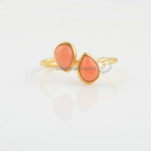 Handmade Coral Chalcedony Gemstone Gold Plated Sterling Silver Ring