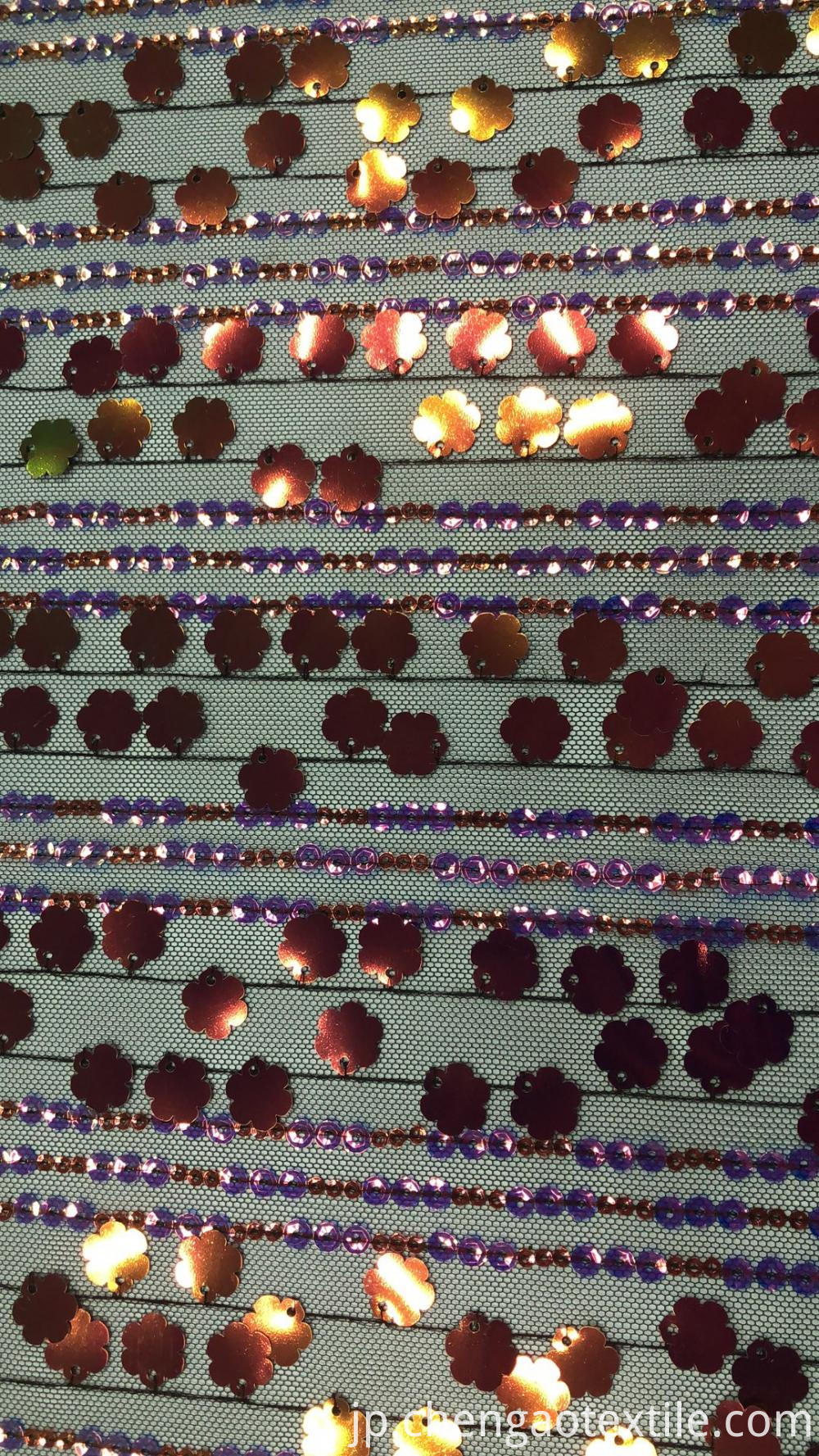 Strip petals sequin mesh embroider Fabric