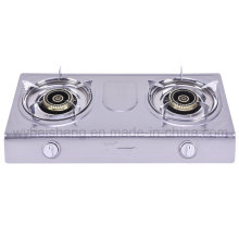 Dull Polished Stainless Steel Double Burner Gas Stove