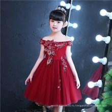 off-плечи вышивка Красный цветок девушка платье
