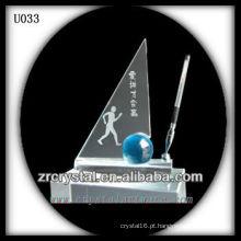 Conjunto de escritório de cristal K9 com bola azul
