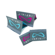 Custom Brand Name Logo Cheap Centerfold Woven Wash Care Labels and Hem Tags for Clothes