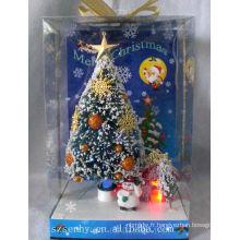 magnifique arbre de boîte en fibre optique à neige noire de Noël