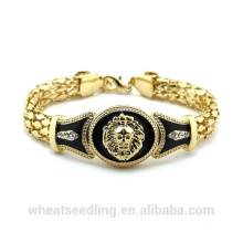 Fashion Gold Ethnic Indian 18k plaqué or Serpent Chain Lion Head Bracelet pour femme