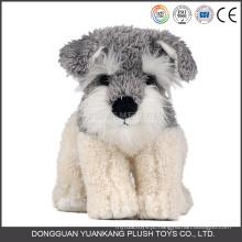 YK ICTI Aprovado Fábrica De Brinquedos De Pelúcia Macia Brinquedo Stuffed Schnauzer Dog