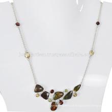 Ammolita natural y piedras preciosas múltiples 925 collar de la plata esterlina Joyería