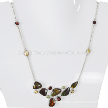 Natural Ammolite And Multi Gemstone 925 Sterling Silver Necklace Jewelry