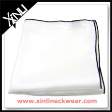 Colored Rolled Hem White Cotton Handkerchief