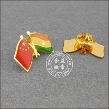 Chinese and Indian Flag Lapel Pin, Badge