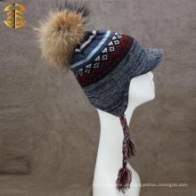 Art- und Weisequalitäts-flacher Rand-kundenspezifischer Mens-Winter-strickender Hut