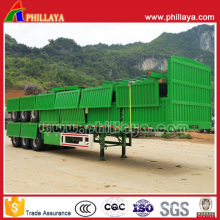3axles 60ton Flatbed Container Semi-Trailer with Detached Sidewalls