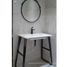 Salle de bains meubles noir stalnless plancher en acier unique évier étanche salle de bain vanité