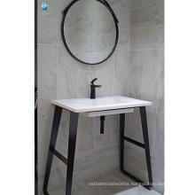 Bathroom furniture black stalnless steel floor single sink waterproof bathroom vanity