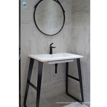 Muebles de baño negro stalnless piso de acero fregadero único lavabo de baño a prueba de agua