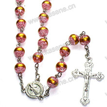 Factory Direct Sale 8mm Glass Bead Rosary Necklace
