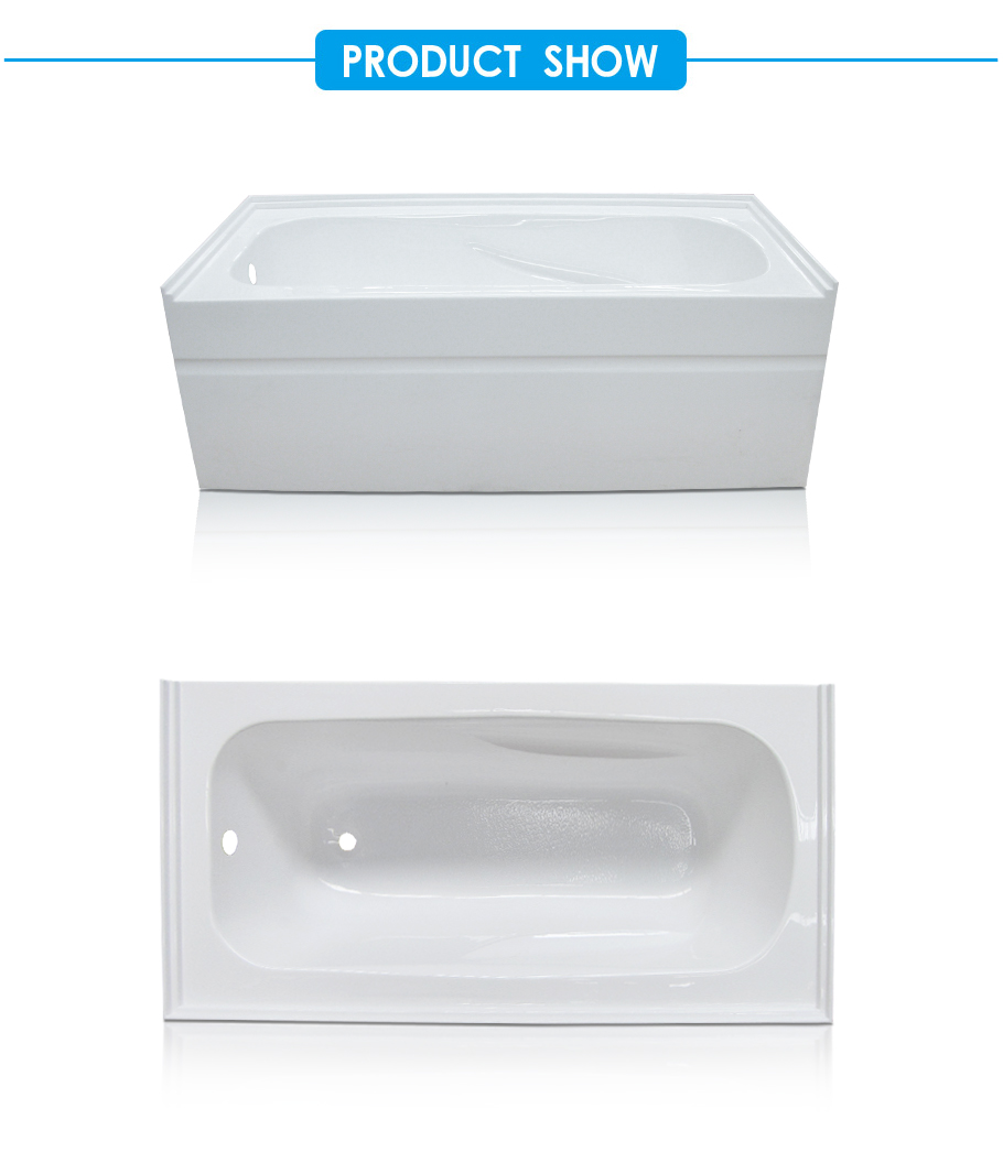 Integral Apron and Tile Flange Acrylic Soaking Tub