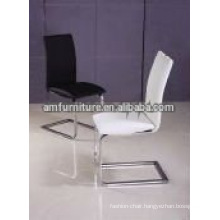 Leather Modern dining chair with chrome legs