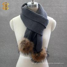 Modische Wolle Frau oder Männer Winter Schal Muster Stricken Schal mit Pelz Ball
