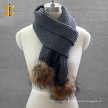 Fashionable Wool Woman or Men Winter Scarf Patterns Knitting Scarf with Fur Ball
