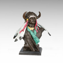 Busts Brass Statue Tribal Chief Decoration Bronze Sculpture Tpy-471