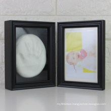 Custom Amazon hot sale Wholesale white Wood frame Baby Memorial Gift baby Hand and foot print frame for decoration