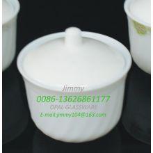 White Jade Glass Sugar Pot