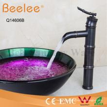 Grifería de lavabo de grifo de recipiente de cuerpo alto de cobre negro con forma de bambú antiguo