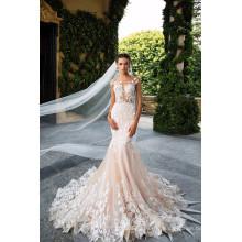2017 Backless See Through Vestidos de novia Robe De Mariage Champagne Mermaid Lace Wedding Dress MW2178