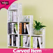 White Plastic Delicate Carved Storage Small Book Shelf