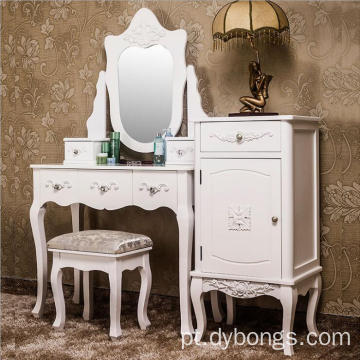 100% solid wood  mirrored dressing table with stool