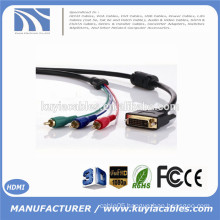 Factory Price Gold plated DVI TO 3RCA CABLE single link male to male 3rca cable 1m 1.8m 2m 3m 5m 10m 15m 20m Optional