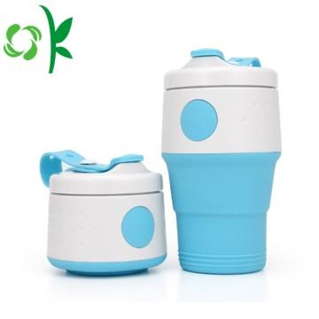 Silicone Drink Folding Portable Water Cup dengan Cover