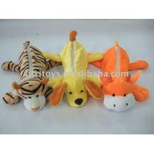 bolsa de lápiz de peluche de animales de la escuela