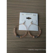 Rounded Beads and Ab Stone Hoop Fishhook Earring