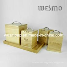 Contenedor de almacenamiento de bambú conjunto (WKB0307A / B / C, WKB0308A)