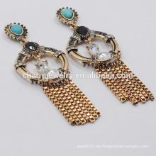 Moda elegante de alta calidad retro turquesa creativa borla pendientes para las mujeres SSEH018