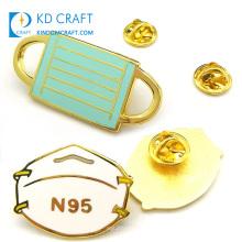 Personalized design metal hard enamel gold plating custom shaped souvenir masking lapel pin badge