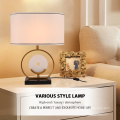 Best Selling High Quality Hotel Bedside Fabric Shade Marble Base Table Lamp