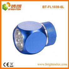 Factory Supply Custom Made Promotion Matériau en métal CR2032 Alimenté par batterie mini 6 led Torch Light With Keychain